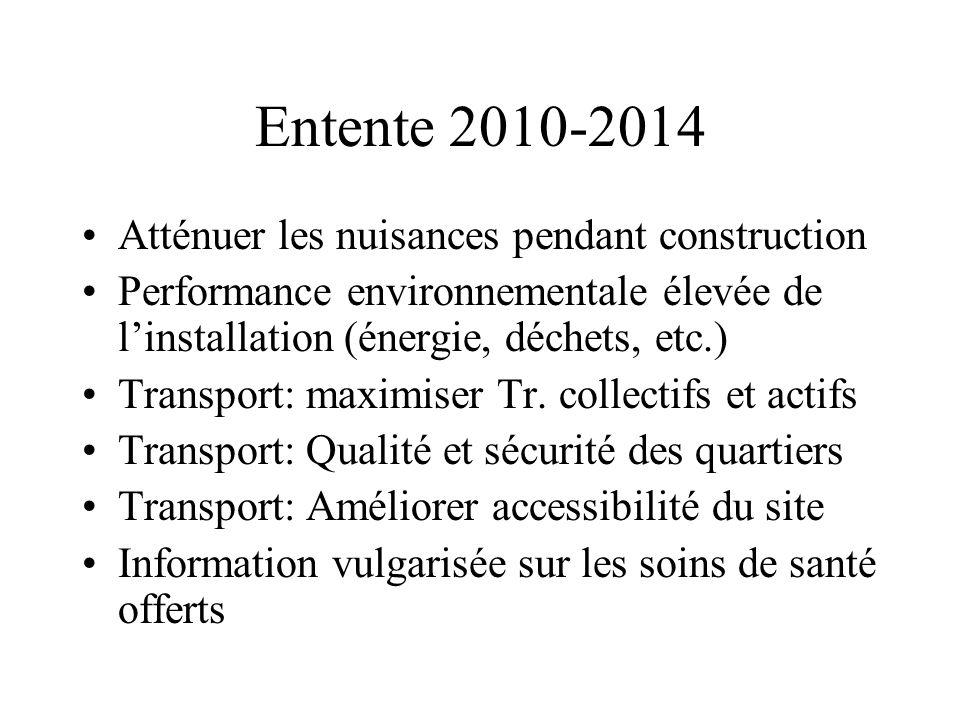 Entente 2010-2014 Atténuer les nuisances pendant construction Performance environnementale élevée de linstallation (énergie, déchets, etc.) Transport: