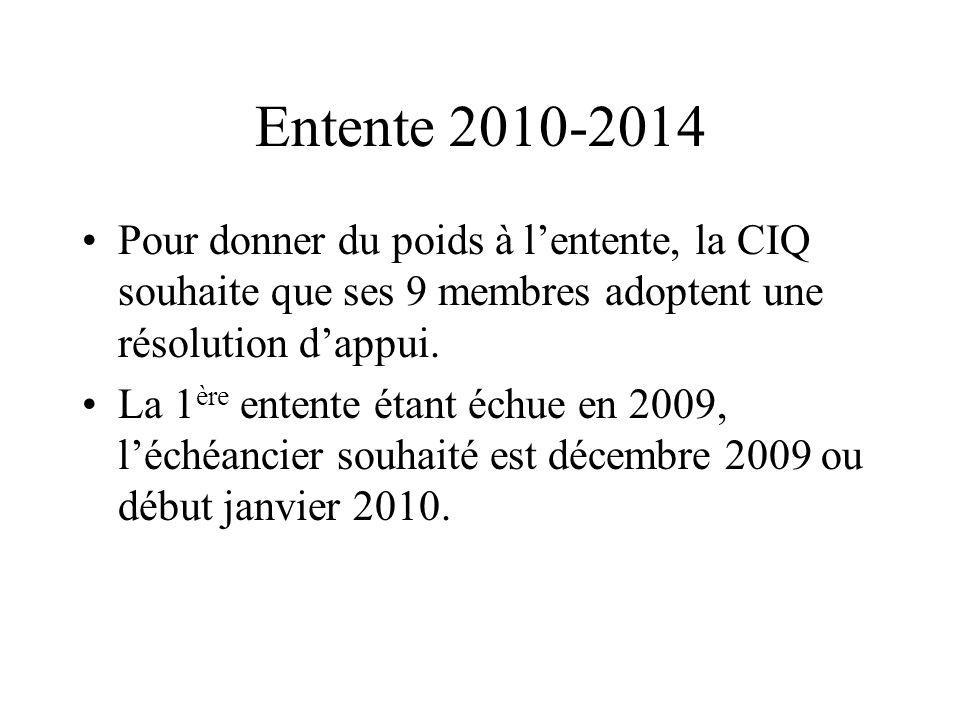 Entente 2010-2014 Pour donner du poids à lentente, la CIQ souhaite que ses 9 membres adoptent une résolution dappui. La 1 ère entente étant échue en 2
