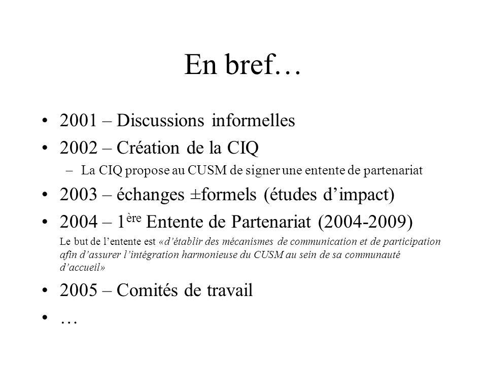 En bref… 2001 – Discussions informelles 2002 – Création de la CIQ –La CIQ propose au CUSM de signer une entente de partenariat 2003 – échanges ±formel