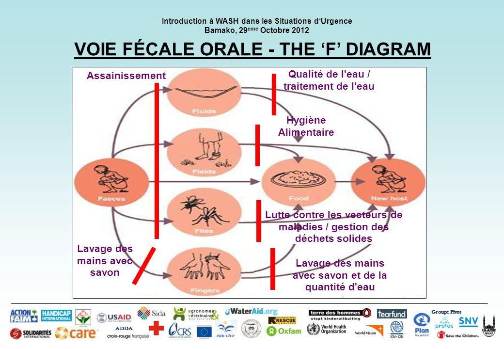 Groupe Pivot ADDA Introduction à WASH dans les Situations dUrgence Bamako, 29 eme Octobre 2012 VOIE FÉCALE ORALE - THE F DIAGRAM Qualité de l'eau / tr