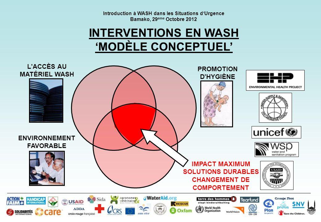 Groupe Pivot ADDA Introduction à WASH dans les Situations dUrgence Bamako, 29 eme Octobre 2012 INTERVENTIONS EN WASH MODÈLE CONCEPTUEL L'ACCÈS AU MATÉ