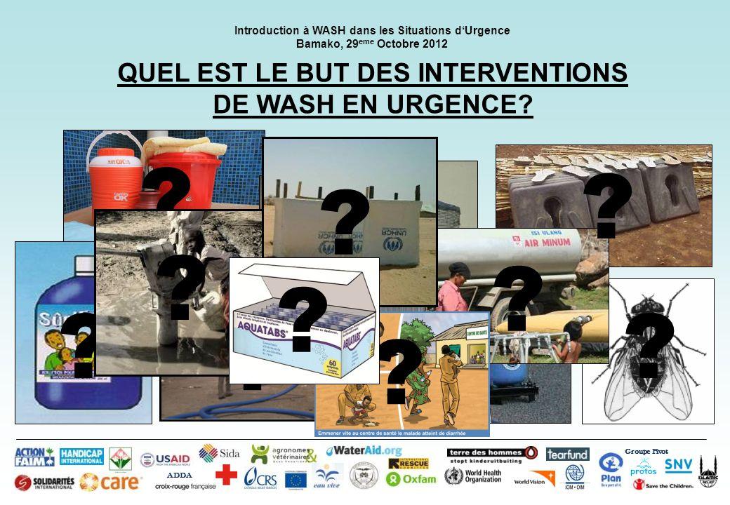? ? Groupe Pivot ADDA Introduction à WASH dans les Situations dUrgence Bamako, 29 eme Octobre 2012 QUEL EST LE BUT DES INTERVENTIONS DE WASH EN URGENC