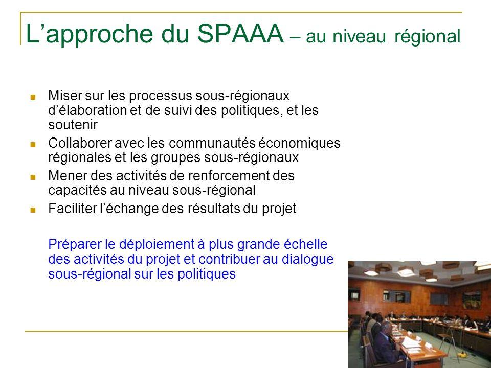 Lapproche du SPAAA – au niveau régional Miser sur les processus sous-régionaux délaboration et de suivi des politiques, et les soutenir Collaborer avec les communautés économiques régionales et les groupes sous-régionaux Mener des activités de renforcement des capacités au niveau sous-régional Faciliter léchange des résultats du projet Préparer le déploiement à plus grande échelle des activités du projet et contribuer au dialogue sous-régional sur les politiques