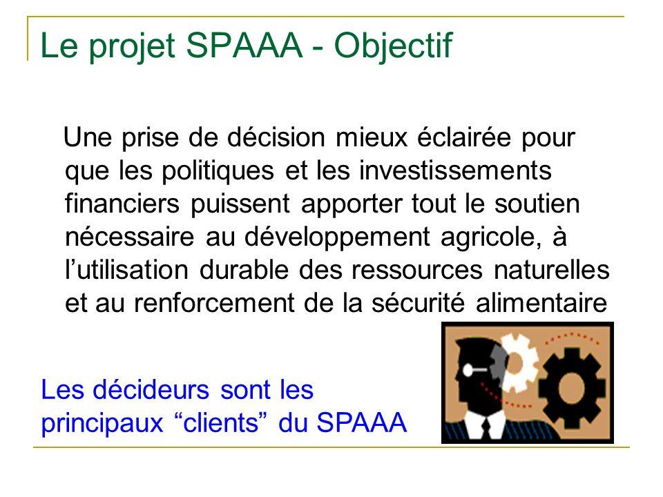 Le projet SPAAA - Objectif Une prise de décision mieux éclairée pour que les politiques et les investissements financiers puissent apporter tout le soutien nécessaire au développement agricole, à lutilisation durable des ressources naturelles et au renforcement de la sécurité alimentaire Les décideurs sont les principaux clients du SPAAA