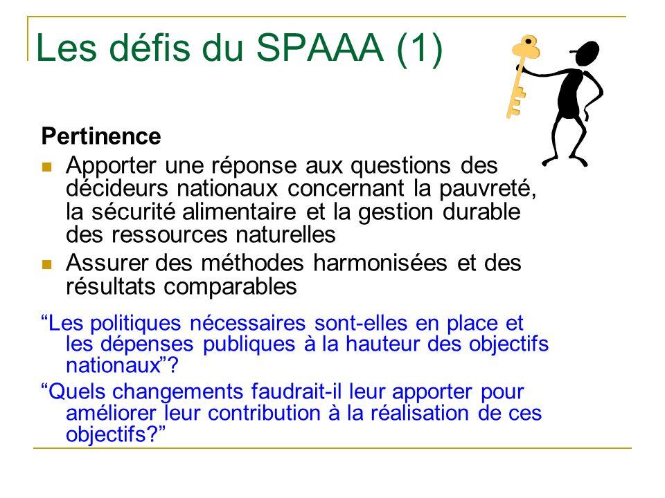 Les défis du SPAAA (1) Pertinence Apporter une réponse aux questions des décideurs nationaux concernant la pauvreté, la sécurité alimentaire et la gestion durable des ressources naturelles Assurer des méthodes harmonisées et des résultats comparables Les politiques nécessaires sont-elles en place et les dépenses publiques à la hauteur des objectifs nationaux.