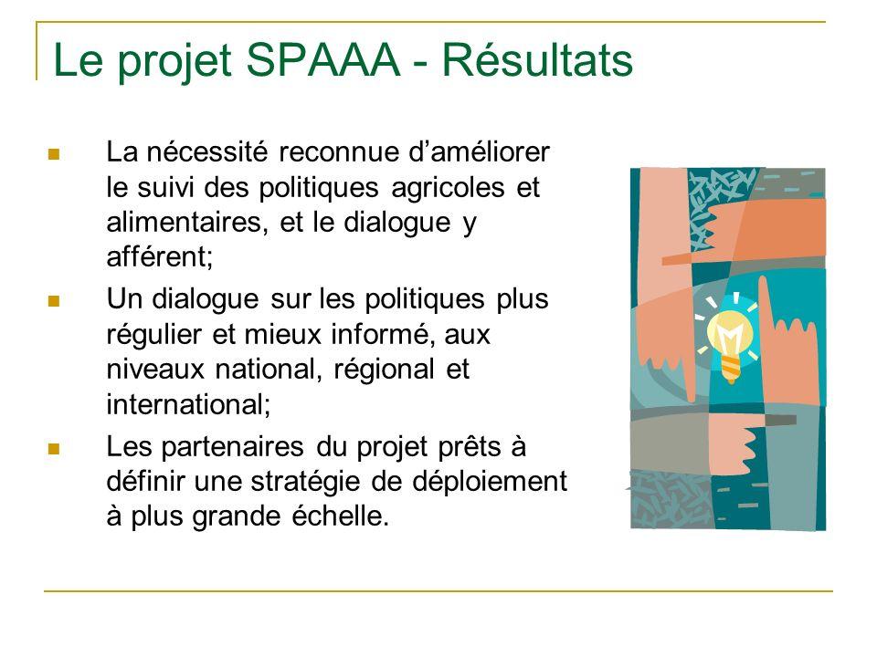 Le projet SPAAA - Résultats La nécessité reconnue daméliorer le suivi des politiques agricoles et alimentaires, et le dialogue y afférent; Un dialogue sur les politiques plus régulier et mieux informé, aux niveaux national, régional et international; Les partenaires du projet prêts à définir une stratégie de déploiement à plus grande échelle.