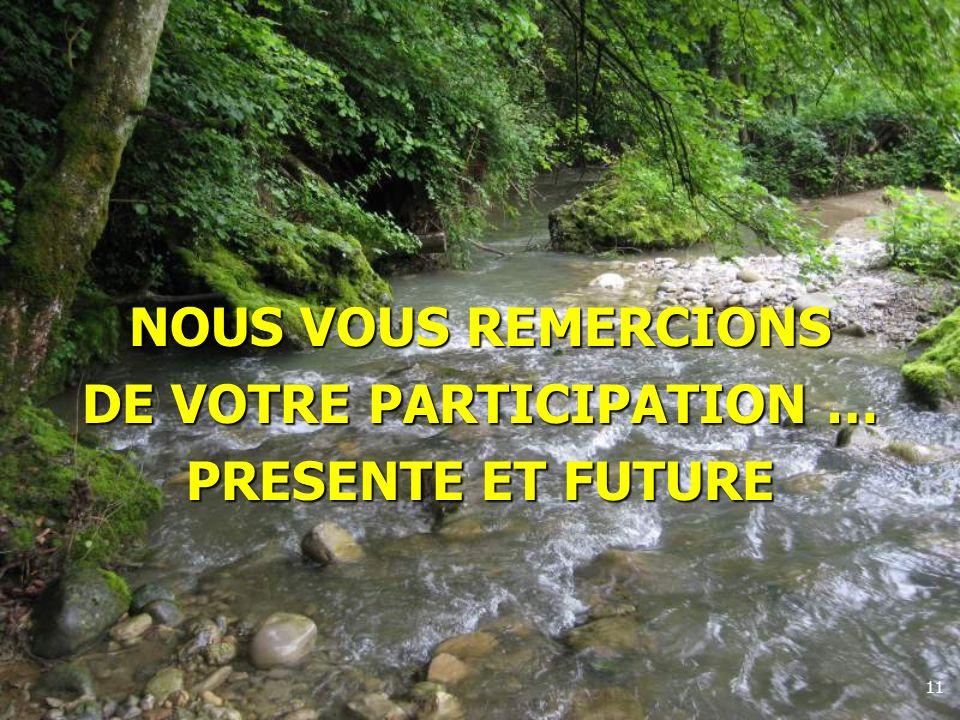 11 NOUS VOUS REMERCIONS DE VOTRE PARTICIPATION … PRESENTE ET FUTURE
