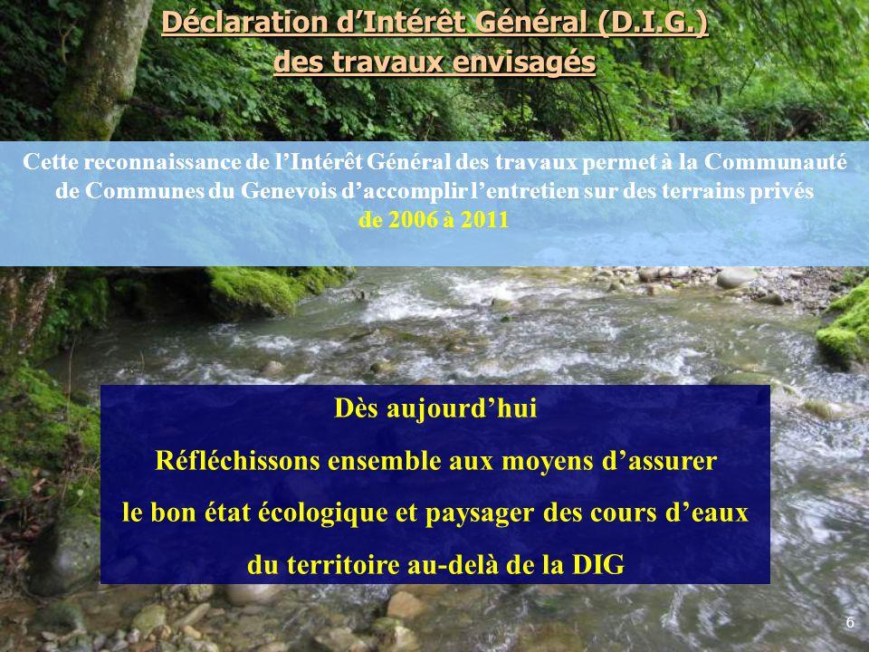 6 Déclaration dIntérêt Général (D.I.G.) des travaux envisagés Cette reconnaissance de lIntérêt Général des travaux permet à la Communauté de Communes