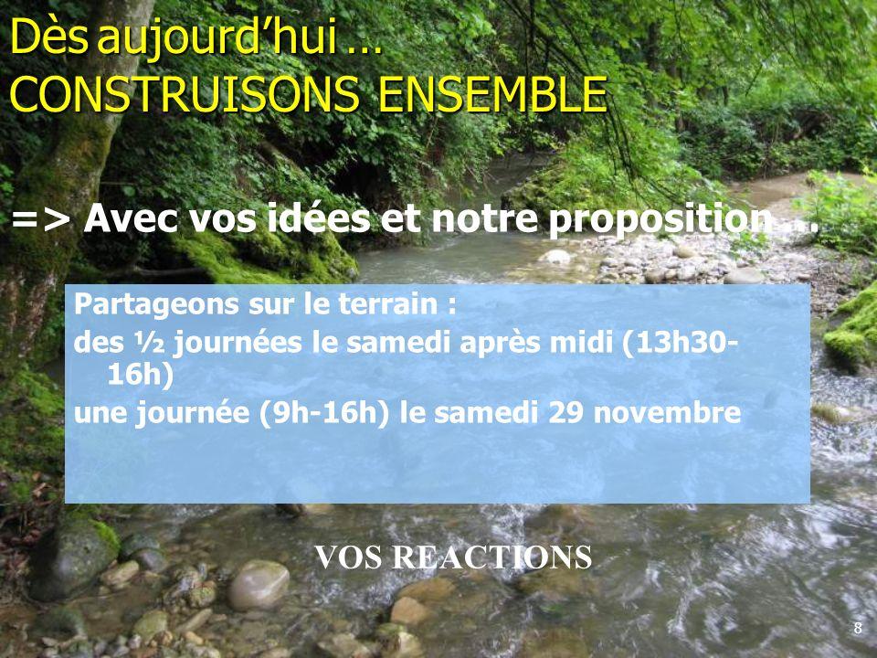 8 Partageons sur le terrain : des ½ journées le samedi après midi (13h30- 16h) une journée (9h-16h) le samedi 29 novembre Dès aujourdhui … CONSTRUISON