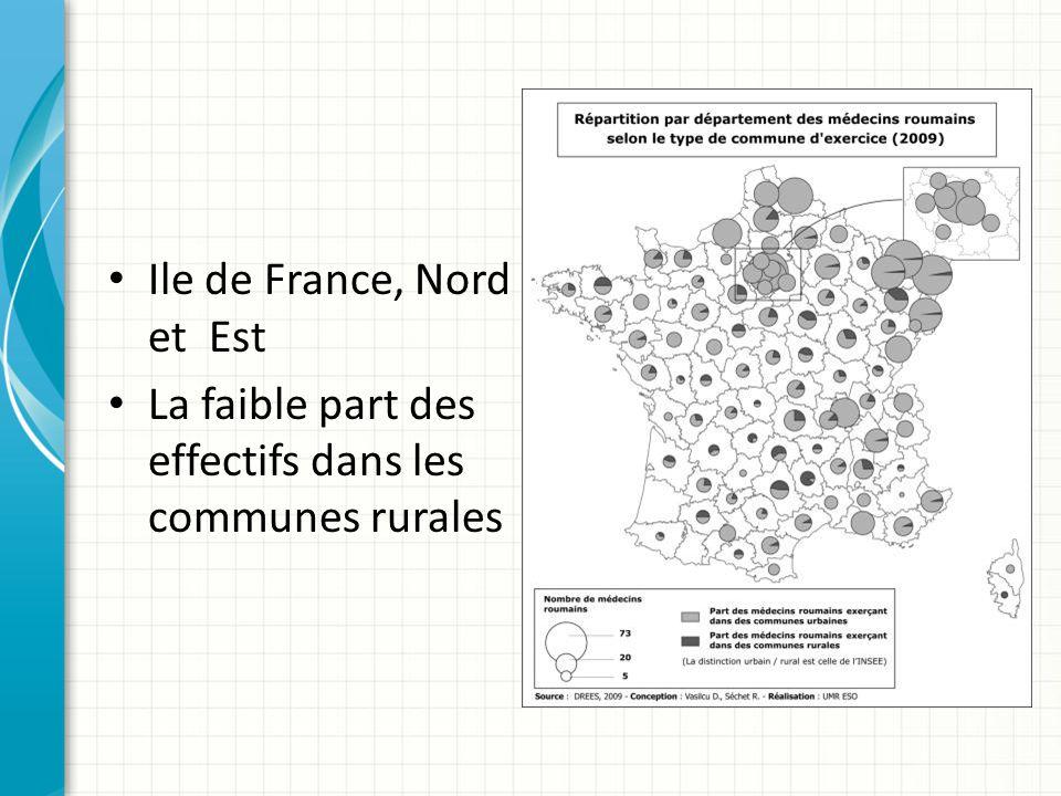 Ile de France, Nord et Est La faible part des effectifs dans les communes rurales
