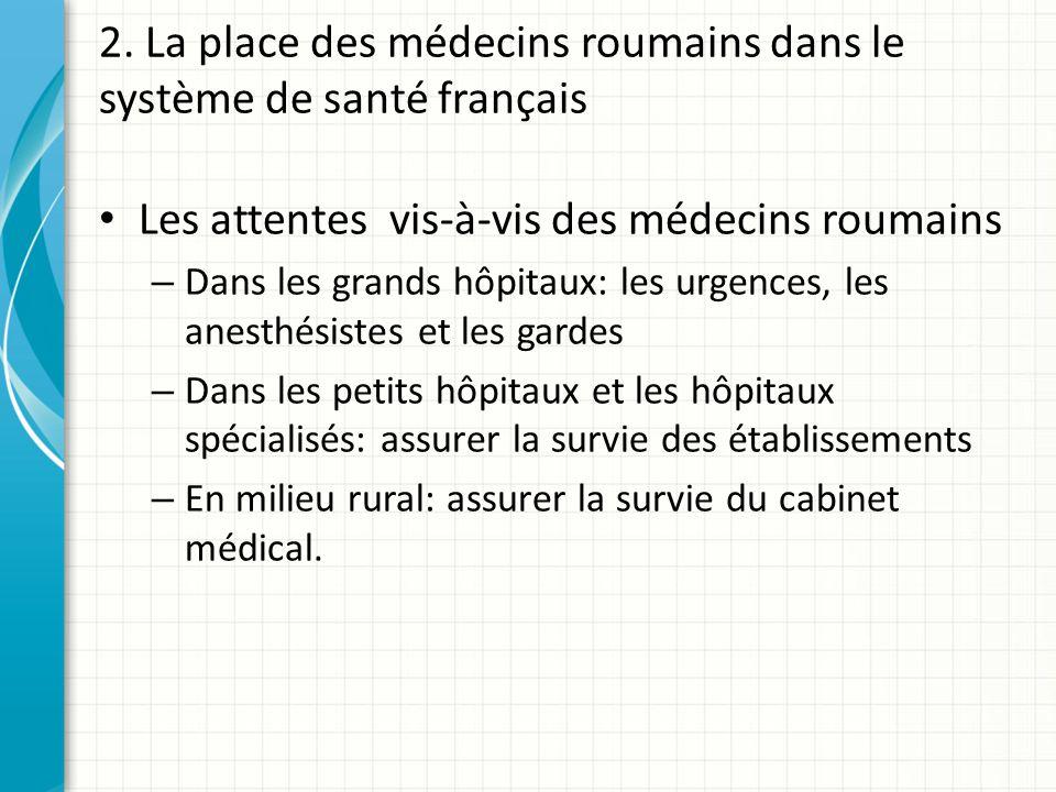 2. La place des médecins roumains dans le système de santé français Les attentes vis-à-vis des médecins roumains – Dans les grands hôpitaux: les urgen