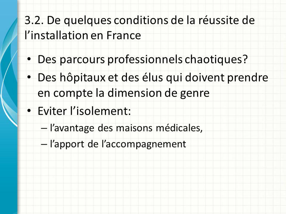 3.2. De quelques conditions de la réussite de linstallation en France Des parcours professionnels chaotiques? Des hôpitaux et des élus qui doivent pre
