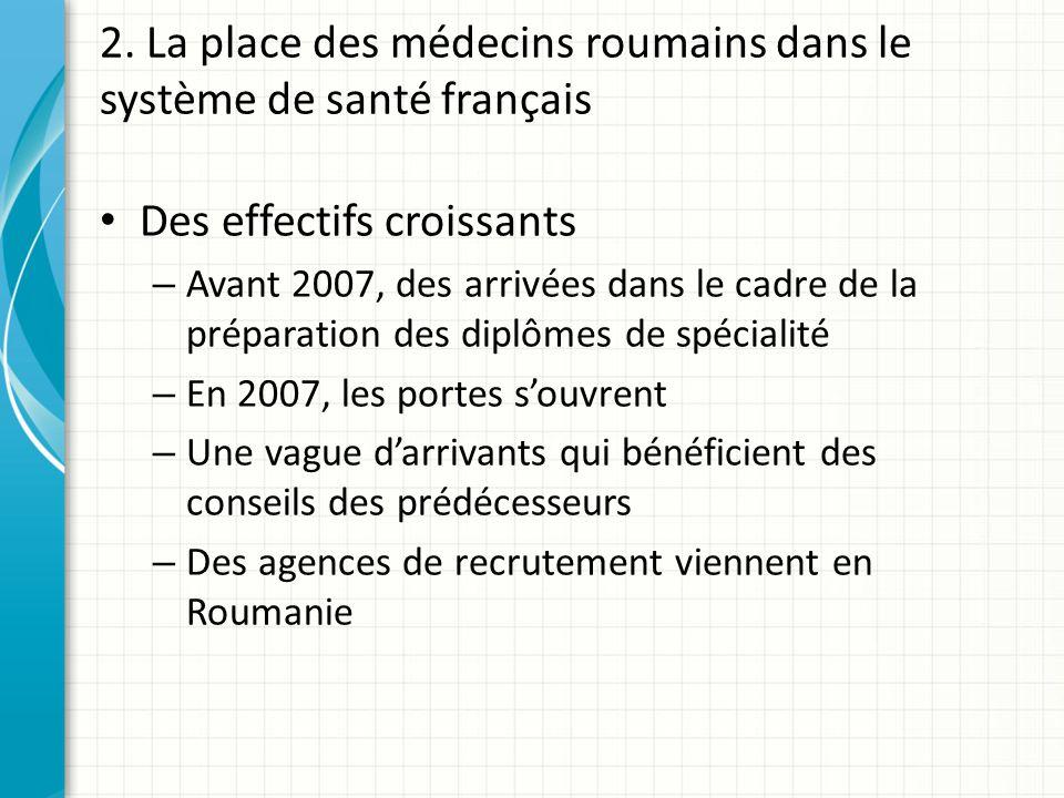 2. La place des médecins roumains dans le système de santé français Des effectifs croissants – Avant 2007, des arrivées dans le cadre de la préparatio