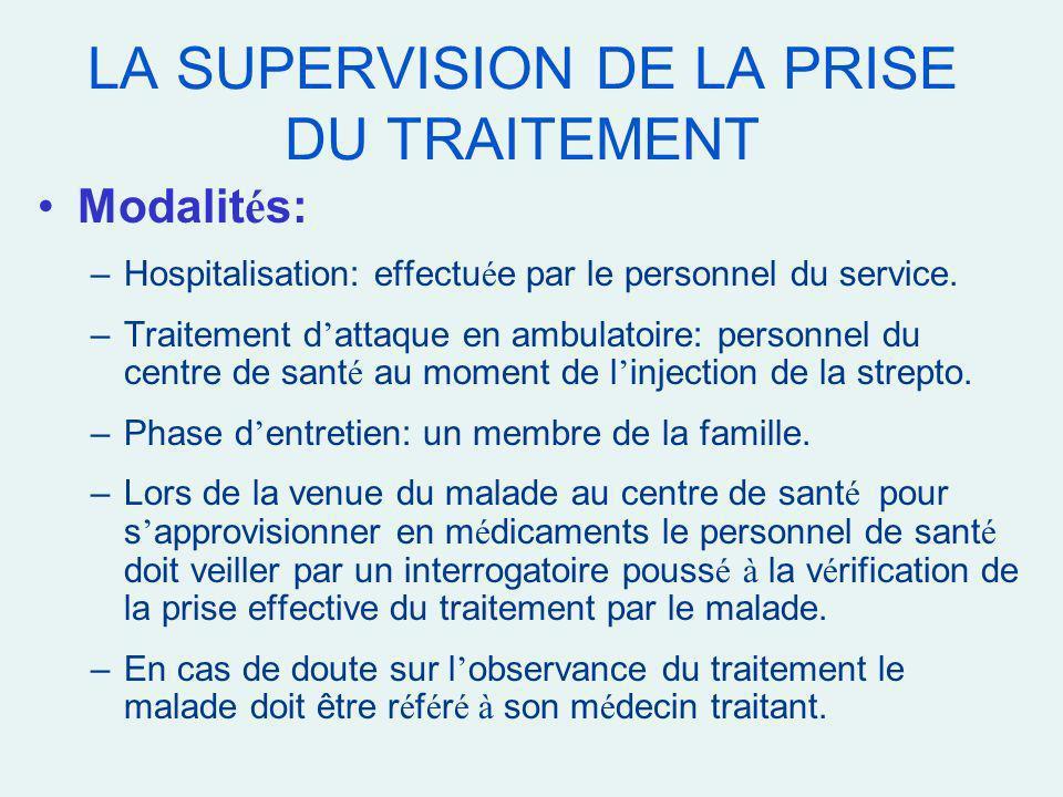 LA SUPERVISION DE LA PRISE DU TRAITEMENT Modalit é s: –Hospitalisation: effectu é e par le personnel du service. –Traitement d attaque en ambulatoire: