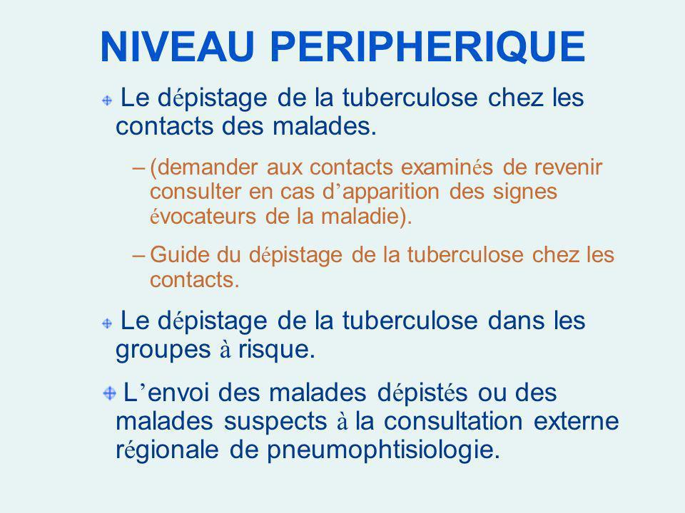 NIVEAU PERIPHERIQUE Le d é pistage de la tuberculose chez les contacts des malades. –(demander aux contacts examin é s de revenir consulter en cas d a
