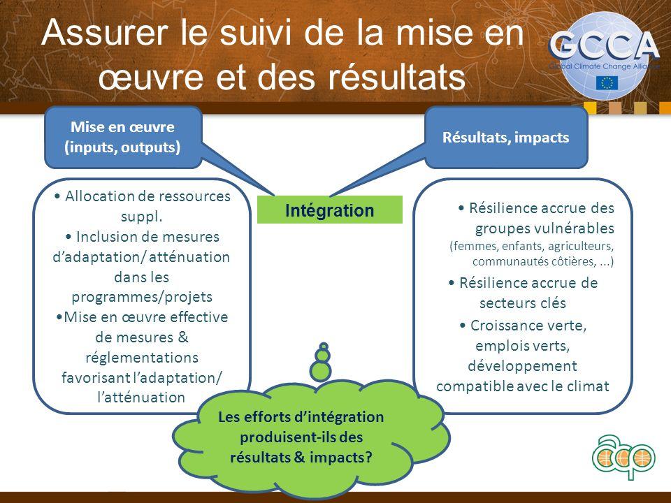 Assurer le suivi de la mise en œuvre et des résultats 12 Intégration Mise en œuvre (inputs, outputs) Résultats, impacts Allocation de ressources suppl.