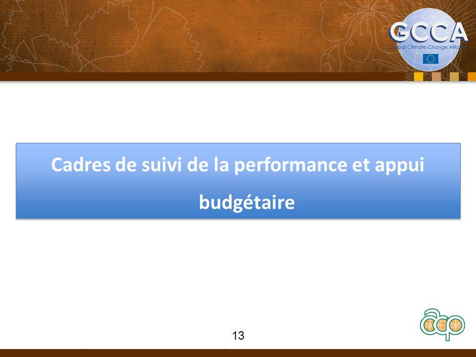 Cadres de suivi de la performance et appui budgétaire 13