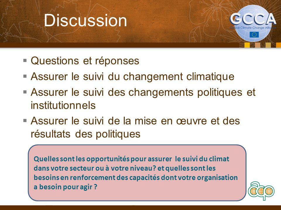 Discussion Questions et réponses Assurer le suivi du changement climatique Assurer le suivi des changements politiques et institutionnels Assurer le suivi de la mise en œuvre et des résultats des politiques 16 Quelles sont les opportunités pour assurer le suivi du climat dans votre secteur ou à votre niveau.