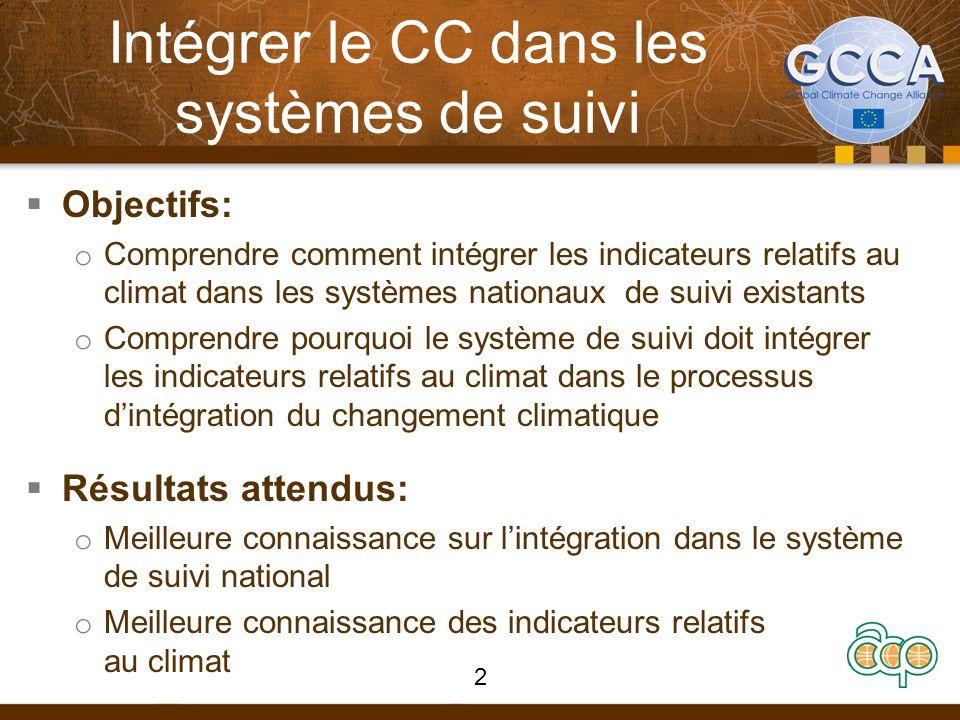Intégrer le CC dans les systèmes de suivi Objectifs: o Comprendre comment intégrer les indicateurs relatifs au climat dans les systèmes nationaux de suivi existants o Comprendre pourquoi le système de suivi doit intégrer les indicateurs relatifs au climat dans le processus dintégration du changement climatique Résultats attendus: o Meilleure connaissance sur lintégration dans le système de suivi national o Meilleure connaissance des indicateurs relatifs au climat 2