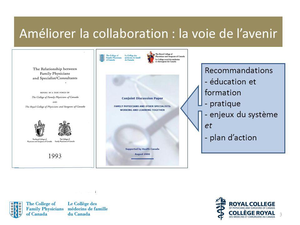 Améliorer la collaboration : la voie de lavenir 3 Recommandations - éducation et formation - pratique - enjeux du système et - plan daction 1993