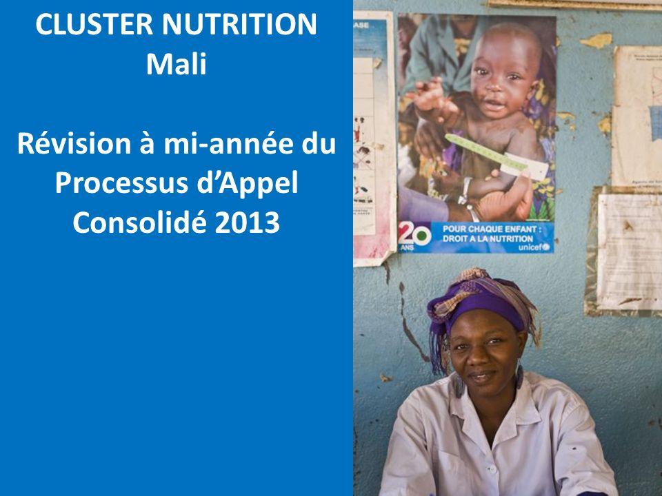 CLUSTER NUTRITION Mali Révision à mi-année du Processus dAppel Consolidé 2013
