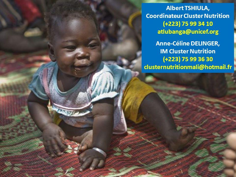 Albert TSHIULA, Coordinateur Cluster Nutrition (+223) 75 99 34 10 atlubanga@unicef.org Anne-Céline DELINGER, IM Cluster Nutrition (+223) 75 99 36 30 clusternutritionmali@hotmail.fr