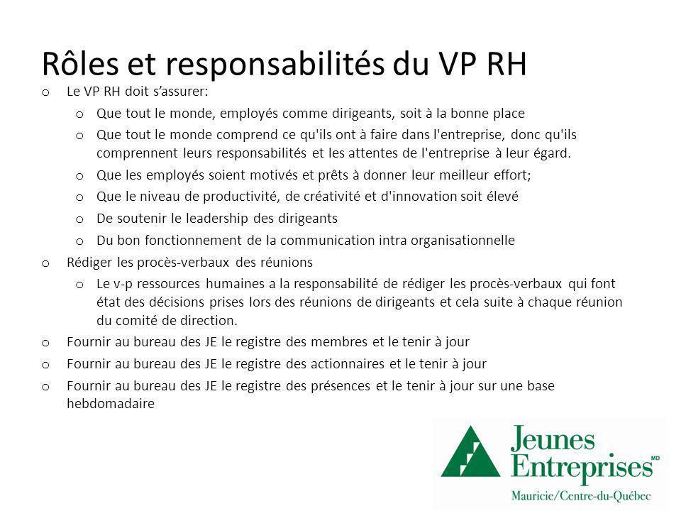 Rôles et responsabilités du VP RH o Le VP RH doit sassurer: o Que tout le monde, employés comme dirigeants, soit à la bonne place o Que tout le monde comprend ce qu ils ont à faire dans l entreprise, donc qu ils comprennent leurs responsabilités et les attentes de l entreprise à leur égard.