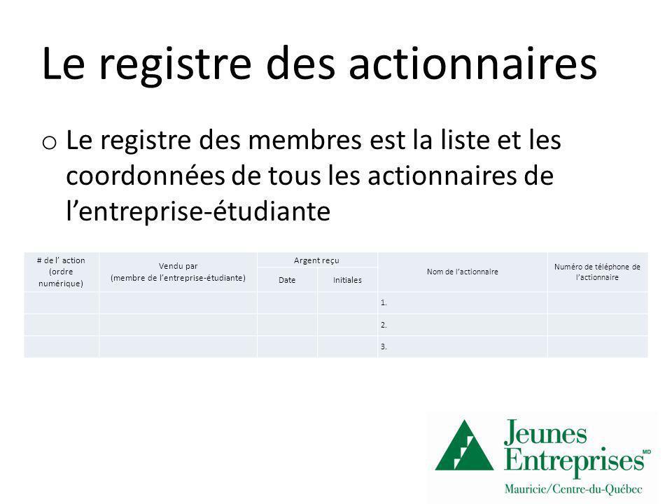Le registre des actionnaires o Le registre des membres est la liste et les coordonnées de tous les actionnaires de lentreprise-étudiante # de l action