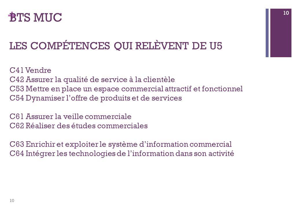 + BTS MUC LES COMPÉTENCES QUI RELÈVENT DE U5 C41 Vendre C42 Assurer la qualité de service à la clientèle C53 Mettre en place un espace commercial attr