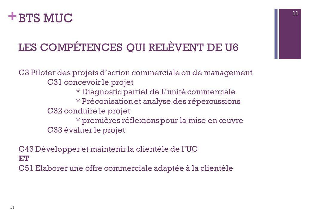 + BTS MUC LES COMPÉTENCES QUI RELÈVENT DE U6 C3 Piloter des projets daction commerciale ou de management C31 concevoir le projet * Diagnostic partiel