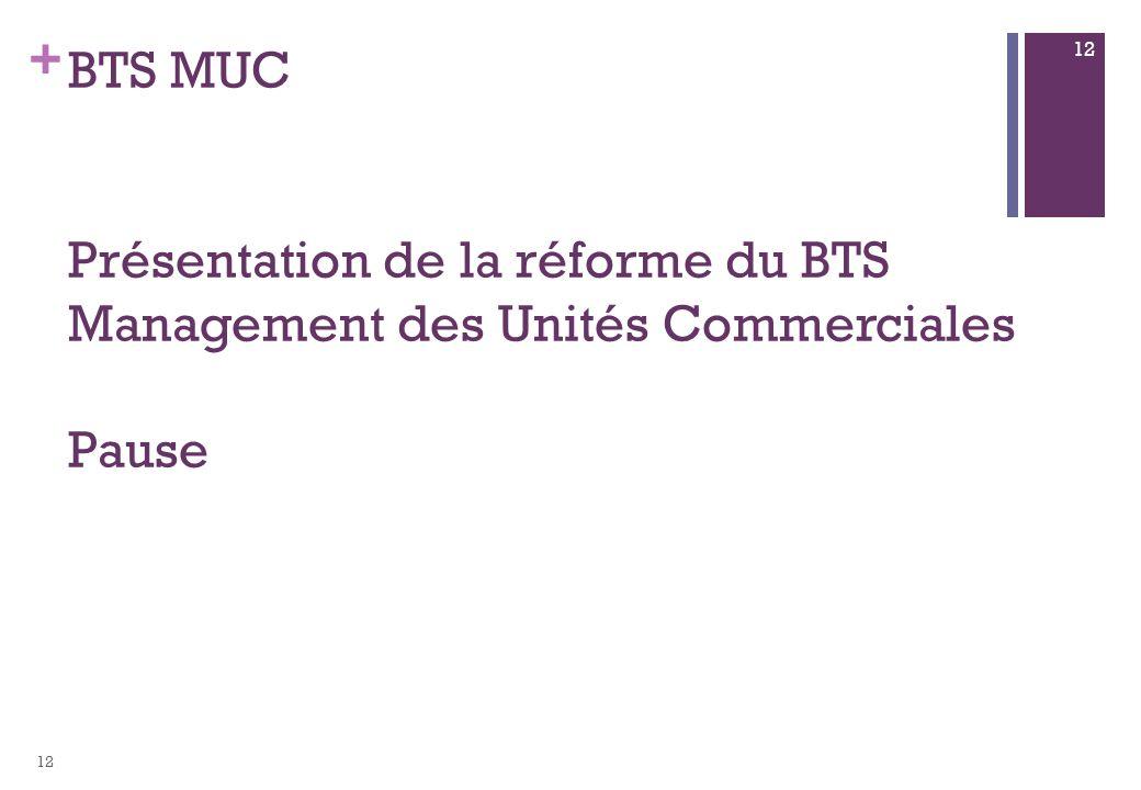 + BTS MUC Présentation de la réforme du BTS Management des Unités Commerciales Pause 12