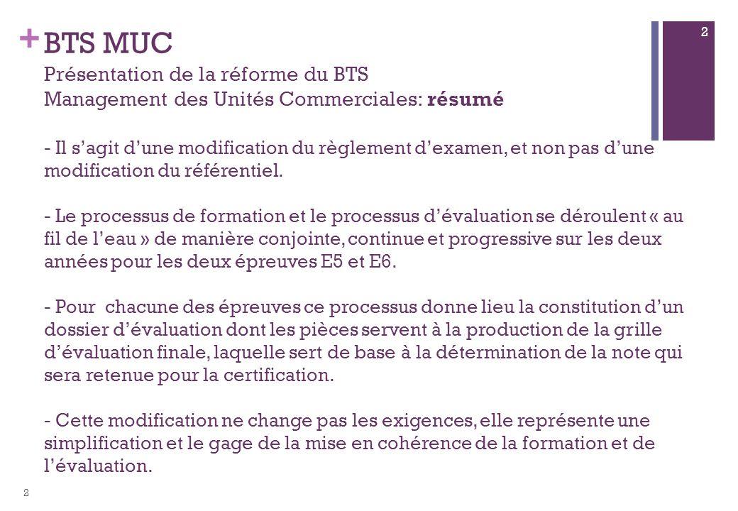 + BTS MUC Présentation de la réforme du BTS Management des Unités Commerciales: résumé - Il sagit dune modification du règlement dexamen, et non pas dune modification du référentiel.