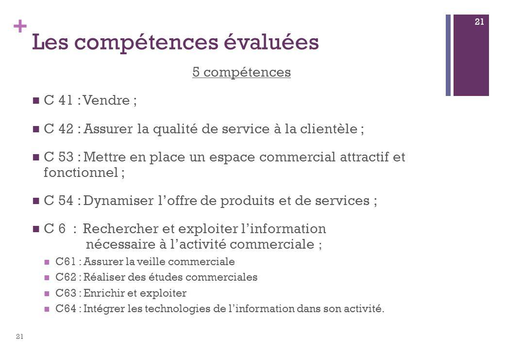 + Les compétences évaluées 5 compétences C 41 : Vendre ; C 42 : Assurer la qualité de service à la clientèle ; C 53 : Mettre en place un espace commer