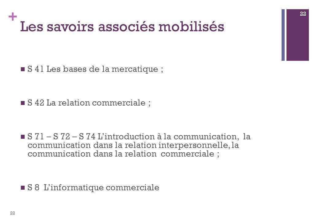 + Les savoirs associés mobilisés S 41 Les bases de la mercatique ; S 42 La relation commerciale ; S 71 – S 72 – S 74 Lintroduction à la communication,