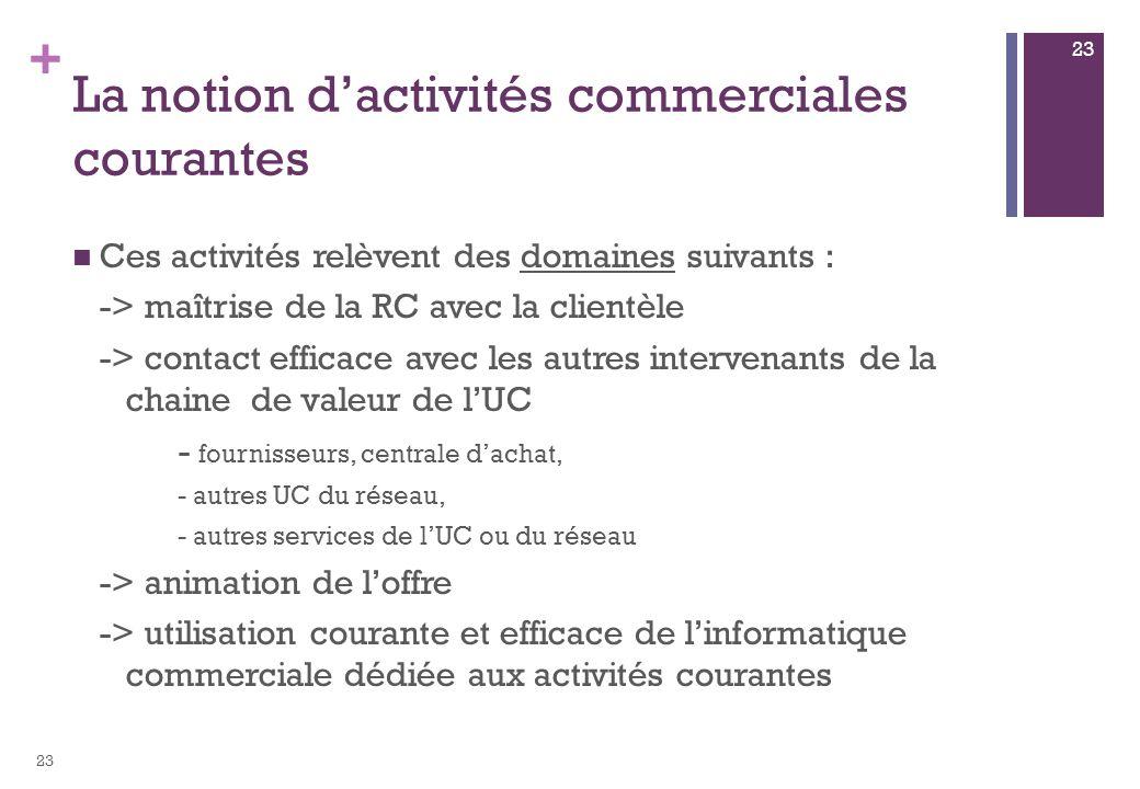 + La notion dactivités commerciales courantes Ces activités relèvent des domaines suivants : -> maîtrise de la RC avec la clientèle -> contact efficac