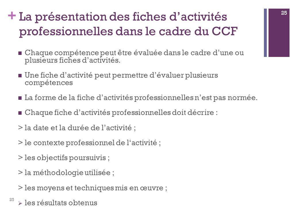 + La présentation des fiches dactivités professionnelles dans le cadre du CCF Chaque compétence peut être évaluée dans le cadre dune ou plusieurs fiches dactivités.