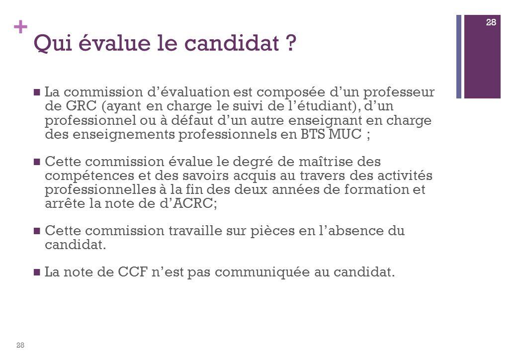 + Qui évalue le candidat ? La commission dévaluation est composée dun professeur de GRC (ayant en charge le suivi de létudiant), dun professionnel ou