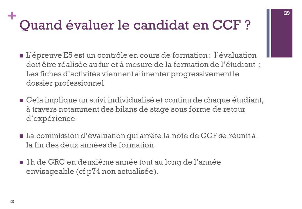 + Quand évaluer le candidat en CCF ? Lépreuve E5 est un contrôle en cours de formation : lévaluation doit être réalisée au fur et à mesure de la forma