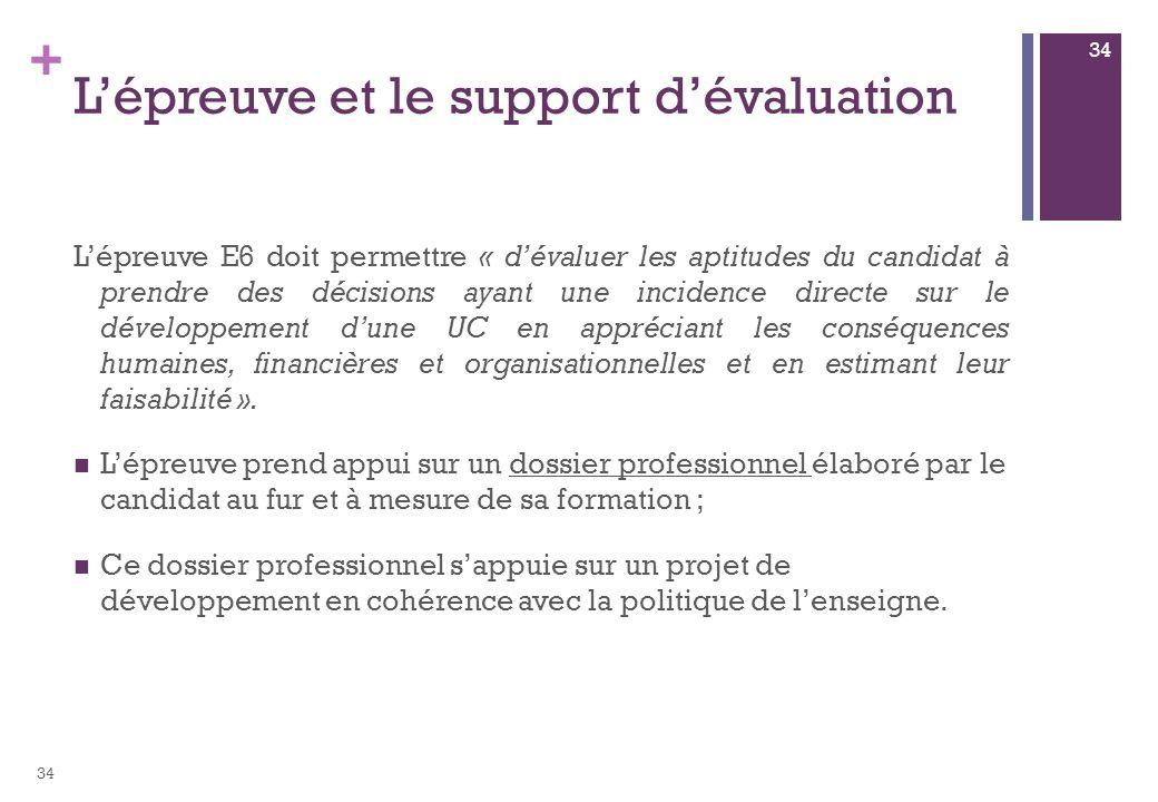 + Lépreuve et le support dévaluation Lépreuve E6 doit permettre « dévaluer les aptitudes du candidat à prendre des décisions ayant une incidence directe sur le développement dune UC en appréciant les conséquences humaines, financières et organisationnelles et en estimant leur faisabilité ».