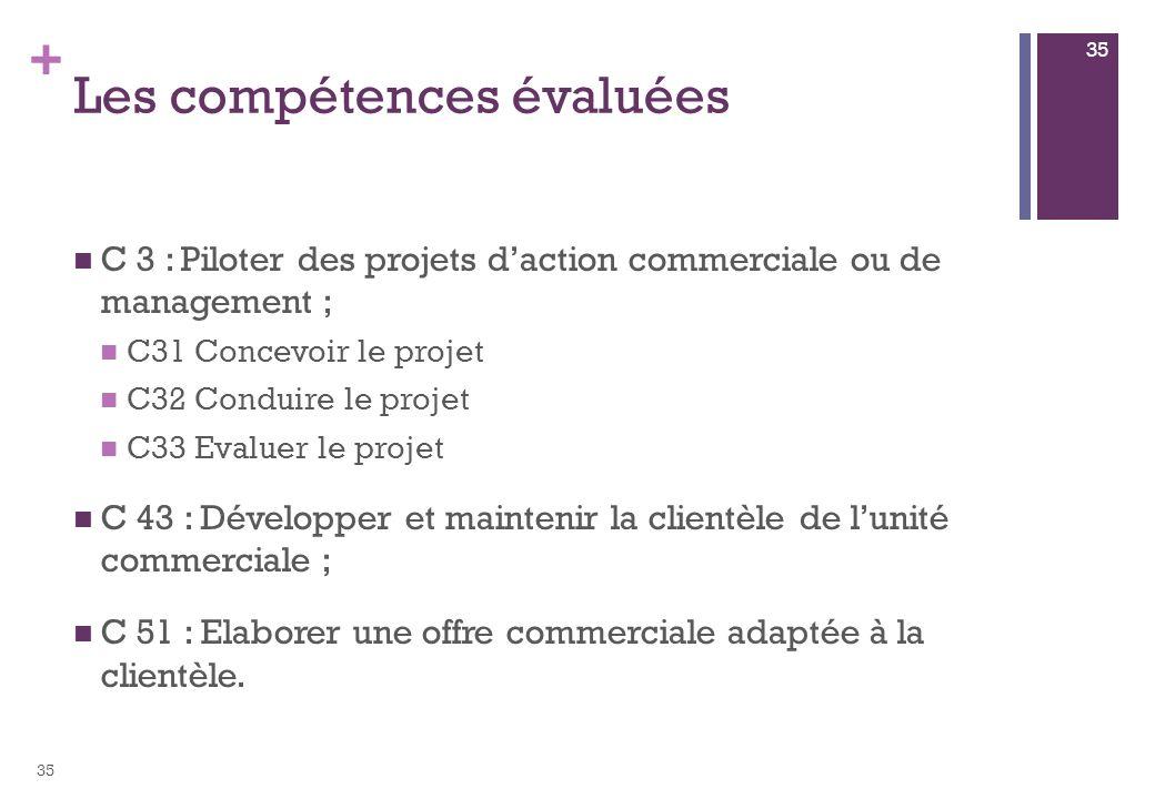 + Les compétences évaluées C 3 : Piloter des projets daction commerciale ou de management ; C31 Concevoir le projet C32 Conduire le projet C33 Evaluer le projet C 43 : Développer et maintenir la clientèle de lunité commerciale ; C 51 : Elaborer une offre commerciale adaptée à la clientèle.