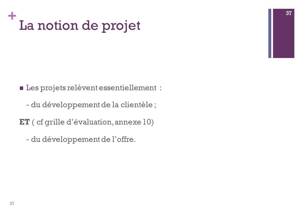 + La notion de projet Les projets relèvent essentiellement : - du développement de la clientèle ; ET ( cf grille dévaluation, annexe 10) - du développ