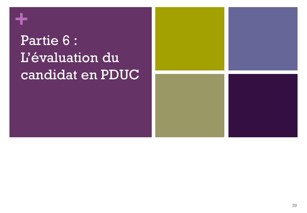 + Partie 6 : Lévaluation du candidat en PDUC 39