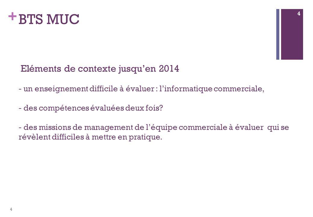 + BTS MUC Eléments de contexte jusquen 2014 - un enseignement difficile à évaluer : linformatique commerciale, - des compétences évaluées deux fois.
