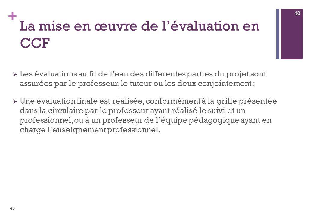 + La mise en œuvre de lévaluation en CCF Les évaluations au fil de leau des différentes parties du projet sont assurées par le professeur, le tuteur o