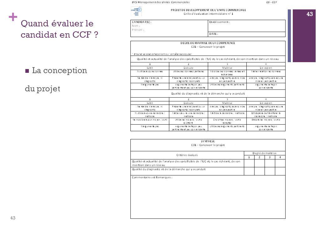 + Quand évaluer le candidat en CCF ? La conception du projet 43
