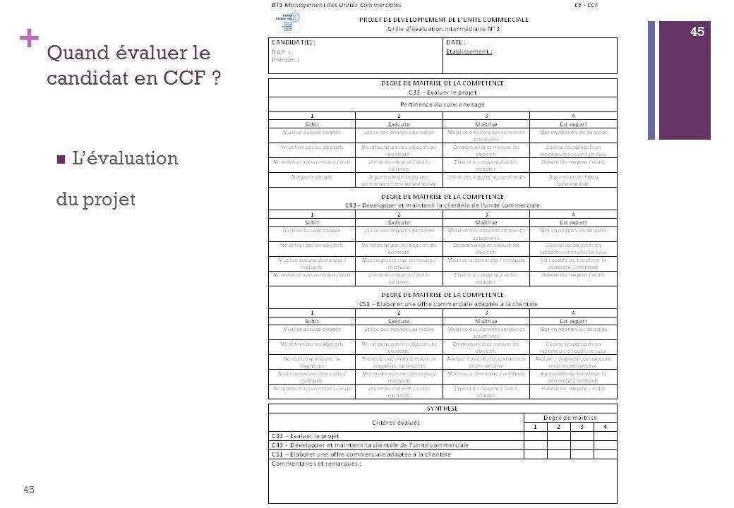 + Quand évaluer le candidat en CCF ? Lévaluation du projet 45
