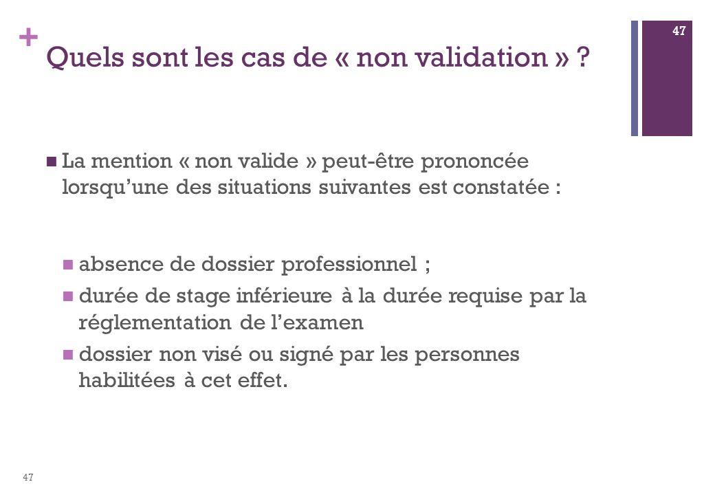 + Quels sont les cas de « non validation » ? La mention « non valide » peut-être prononcée lorsquune des situations suivantes est constatée : absence