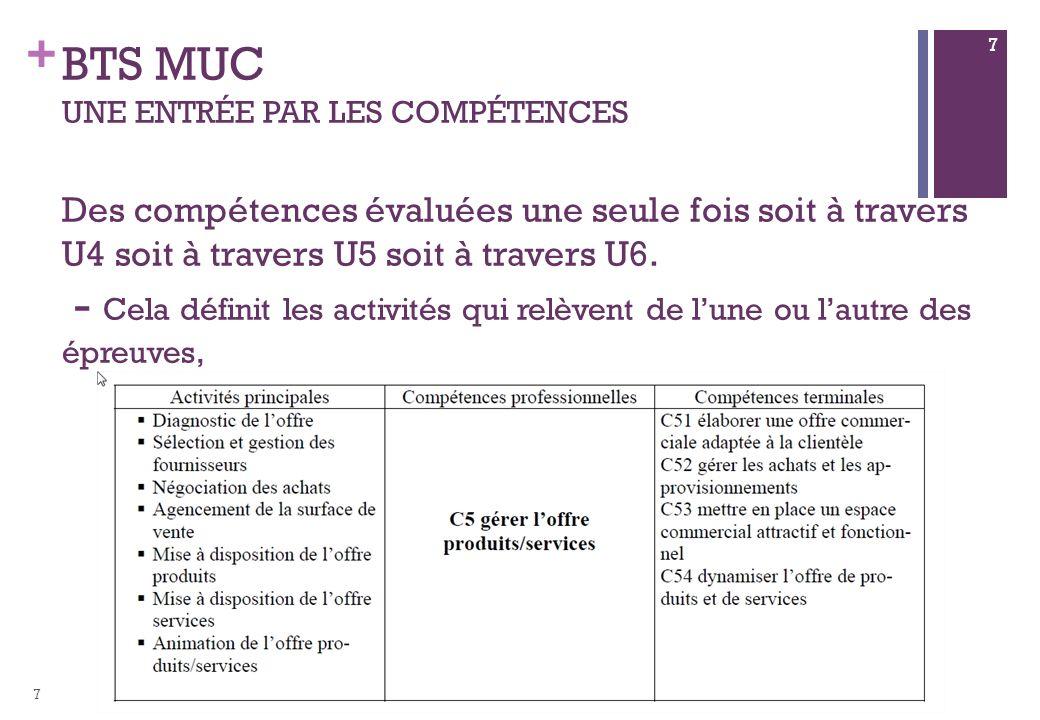 + BTS MUC UNE ENTRÉE PAR LES COMPÉTENCES Des compétences évaluées une seule fois soit à travers U4 soit à travers U5 soit à travers U6.
