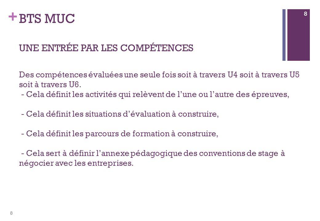 + BTS MUC UNE ENTRÉE PAR LES COMPÉTENCES Des compétences évaluées une seule fois soit à travers U4 soit à travers U5 soit à travers U6. - Cela définit