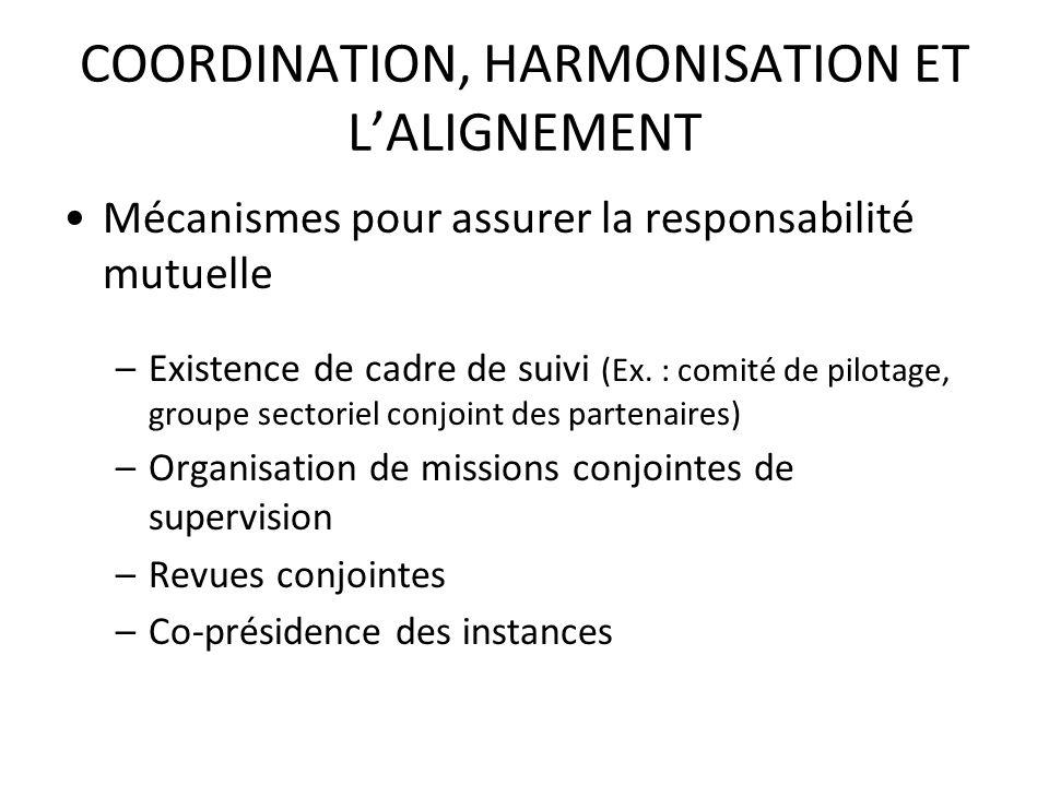 COORDINATION, HARMONISATION ET LALIGNEMENT Mécanismes pour assurer la responsabilité mutuelle –Existence de cadre de suivi (Ex. : comité de pilotage,